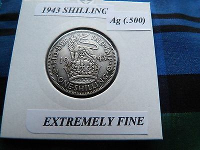 EXTREMELY FINE? 1943 SHILLING   George VI  (Silver .500)