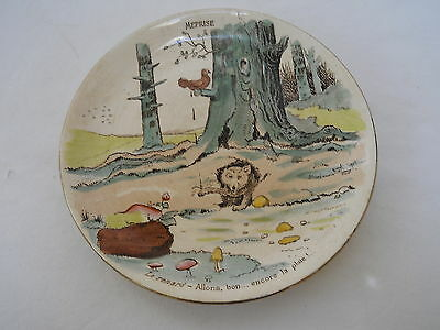 VTG France MEPRISE Faience Fairy Tale STORY PLATE signed Benjamin 19c antique