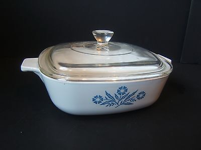 Blue Cornflower Corning Ware 1L Litre Casserole Dish with unmatched Lid VTG Used