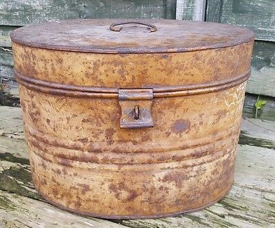 Large Antique Victorian Oval Metal Box - Travel Hat Storage Trunk Tin