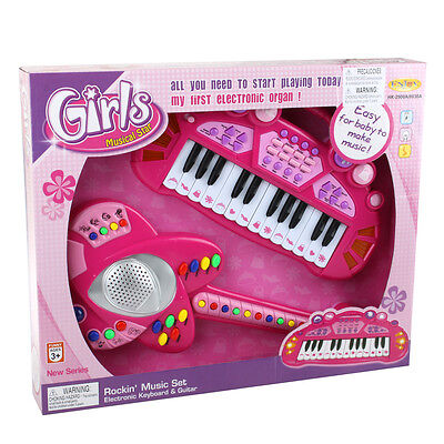 Children Guitar & Keyboard Instrument Combo Set Pink Musical Toy Easy For Kids