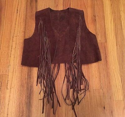 Brown Leather Suede Fringe Vest From The 1970S Women's Size Small