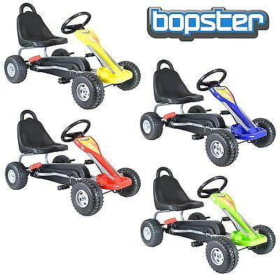Bopster Childrens Kids Pedal Go Kart Cart With Plastic Wheels And Hand Brake New