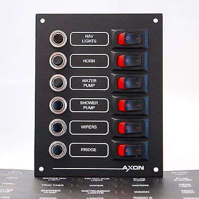 Marine Visi Switch & Circuit Breaker Panel, 6 Way, 12 or 24 volts DC