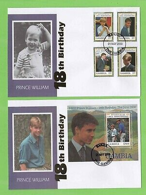 Gambia 2000 Prince William's 18th Birthday set & m/s on two illustrated FDC's