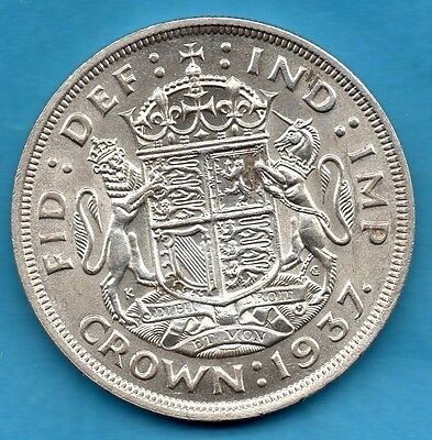 1937 King George Vi Silver Crown Coin. Royal Arms. Five Shillings. Coronation.