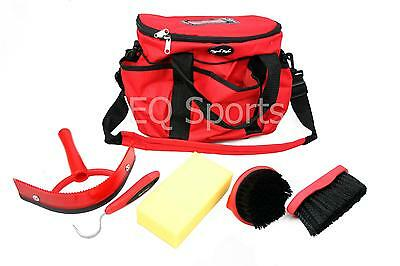 FREE P&P Knight Rider Canvas Tack Kit Bag & Grooming Accessories Red/Black !!