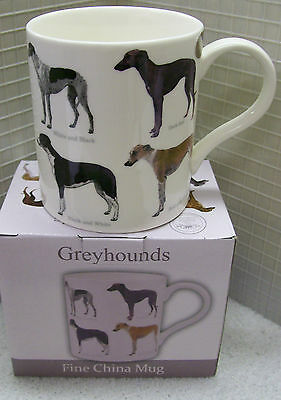 New Fine China mug Greyhound Breed colours Brindle Blue Black White Fawn Red whi