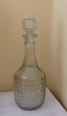 Vintage Pressed Glass/crystal Decanter With Matching Stopper, Made In England