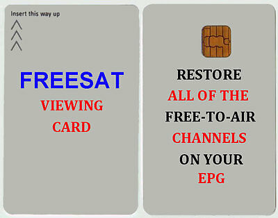 ACTIVATED WHITE FREESAT VIEWING CARD FOR PLUS AND HD UK  X 5 + Free post