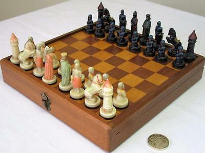 """Vintage Anri  """"charlemagne"""" Magnetic Travel Chess Set In Org Board - Display"""