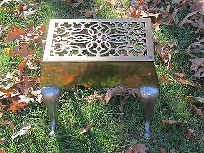 Antique 19 C. Solid Brass & Cast Iron Footman Stool Fireplace Trivet Pot Warmer