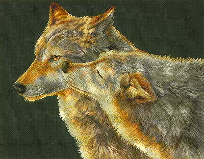 Wolf Kiss Counted Cross Stitch Kit-14 Inch X 11 Inch 14 Count 088677352837
