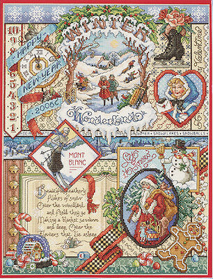 Winter Sampler Counted Cross Stitch Kit-12 Inch X 16 Inch 14 Count 049489233844