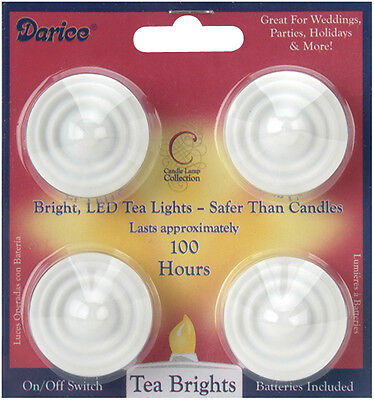 LED Tea Lights 4/Pkg-White 7 Inch 652695727436