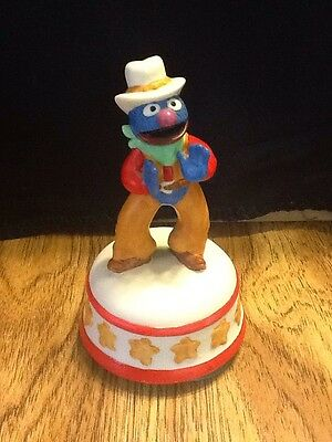 Grover  Wind Up Music Box Porcelain Figure Plays Sesame StreetTheme Song