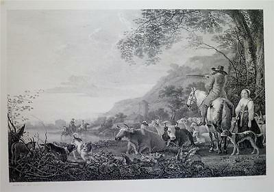 Antique 1875 Engraving Print, EVENING A COMPOSITION: DOGS, CATTLE by ALBERT CUYP