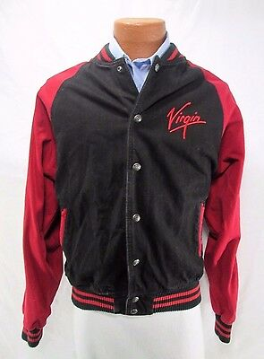 Virgin Atlantic Airlines Black Cotton Denim Jacket Sz LG Embroidered Logo Coat