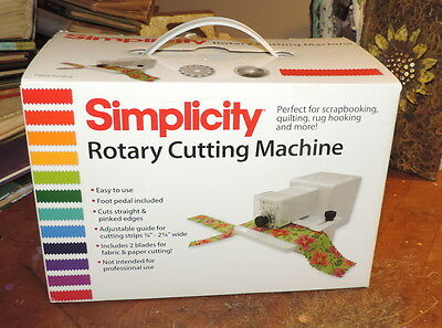 NIB Simplicity Rotary Cutting Machine with 2 Blades and Foot Pedal Model 881950W