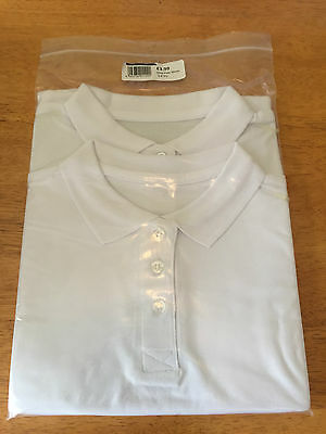 Job Lot White 2 Pack Polo Shirts, School,p.e,sportswear