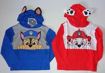 PAW PATROL Boys 2T 3T 4T 4 5 6 7 Tee Top HOODED SHIRT Marshall Chase Nickelodeon