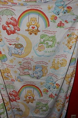 VINTAGE CARE BEARS TWIN FITTED BOTTOM BEDSHEET FABIRC AMERICAN GREETINGS 1980's