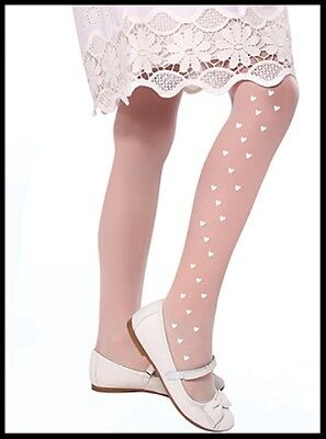 Girls White Tights Hearts Pattern Wedding Holy Communion Bridesmaid Smart 20 DEN