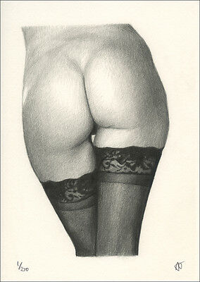 Limited Edition Erotic Art Print - Sexy Female Nude - Pencil Drawing