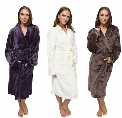 Luxury Ladies Flannel Fleece Robe, Super Soft Dressing Gown, Size 10-20