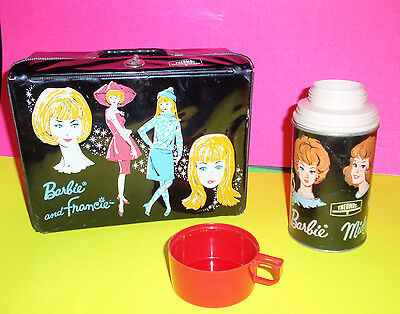 Vtg 1965 King Seeley Thermos Black Vinyl Lunchbox BARBIE and FRANCIE Doll Case