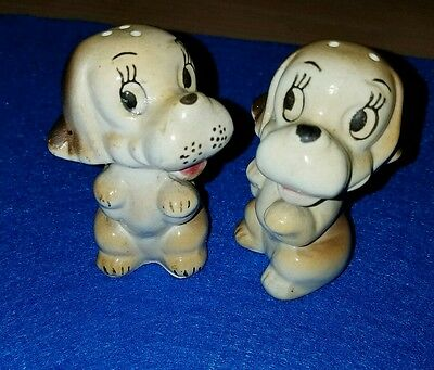 Puppy salt and pepper shakers