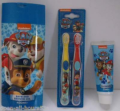 Paw Patrol 3 Piece Hygiene Set - Toothpaste - 2 Pack Tooth Brushes - Shower Gel