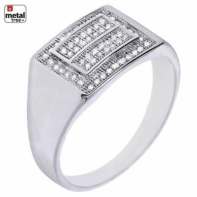 Men's Hip Hop Fashion Iced Out Silver Plated Hand Set Double Square Pinky Rings
