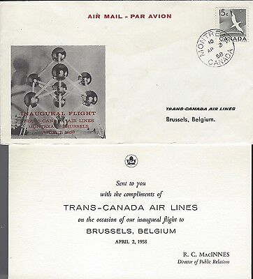 1958 Trans-Canada Air Lines FFC Montreal to Brussels