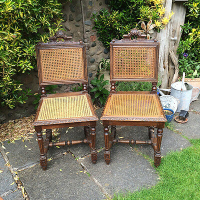 Vintage Antique French Oak & Cane Dining Chairs