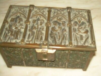 French  Antique Patinated Bronze Casket/ Reliquary /Jewelery Box