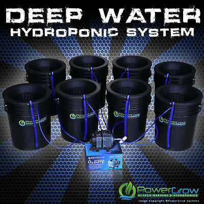 "Deep Water Culture DWC Hydroponic System 8 Growing Sites 10"" Lids by POWERGROW"