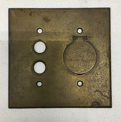 Antique Edison Arrow Brass Push Button Switch Plate Cover w/ Outlet Receptacle