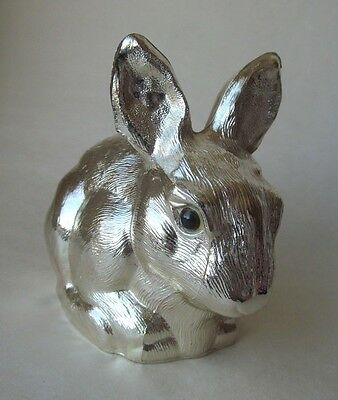 "Vtg Reed & Barton Silverplate Bunny Rabbit ""Piggy"" Bank with Original Sticker"