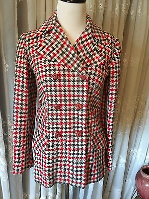 vintage 60's MOD houndstooth jacket GRAY & PINK womens small