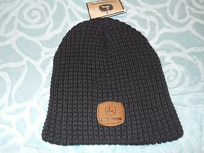 John Deere *black* Suede Patch Logo Stocking Knit Hat Cap Or Beanie Nwt