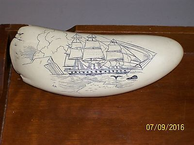 Beautifully Made Faux Whale Tooth Scrimshaw Barque Victoria Sailing Ship