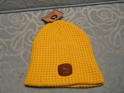 John Deere  yellow  Suede Patch Logo Stocking Knit Hat Cap Or Beanie Nwt e6a907a2d72a