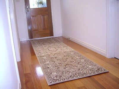 Hall Runner Rug Patterned Designer 300cm Long FREE DELIVERY  Beige