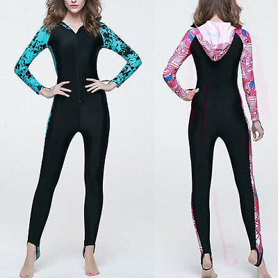 Woman Floral Hooded Wetsuits Full Length Wet Suit Surfing Water Diving Swimwear