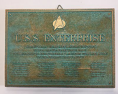 Aged Star Trek USS Enterprise D Dedication Plaque