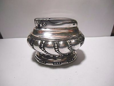 """Vintage BEAUTIFUL Ronson """"CROWN"""" SILVER PLATED FLUID TABLE LIGHTER  - WORKING"""