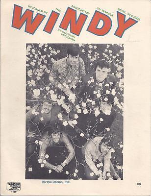 Windy By Ruthann Friedman Recorded by The Association Sheet Music 1967