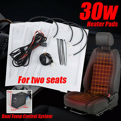 2seats General Carbon Fiber Heated Seat Heater Pad Kit 2 Dial 5-Level Switch New