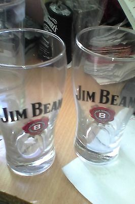 jim beam schooner glasses (2) pair (no size but approx 300ml)